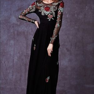 Free People long sleeve floral embellished gown